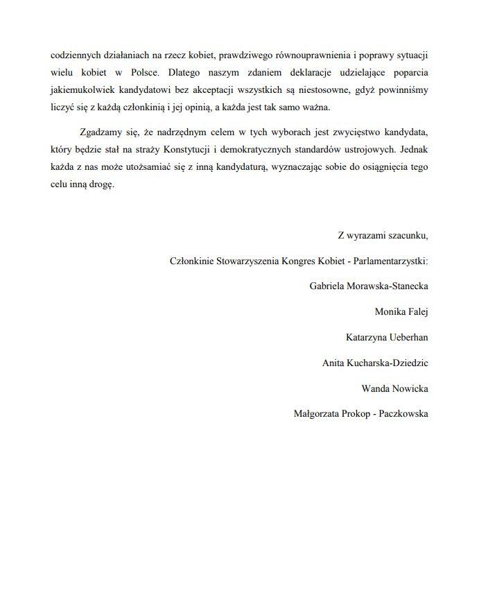 List otwarty do zarządu stowarszyszenia Kongres Kobiet