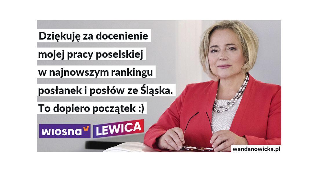 Dziękuję za dobrą ocenę w rankingu śląskich posłanek i posłów!